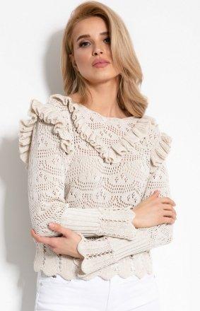 Sweterek z falbankami F908 beżowy