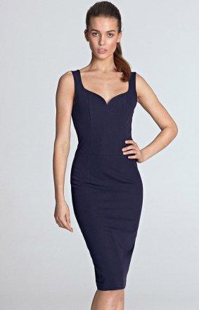 Ołówkowa sukienka z dekoltem S113F