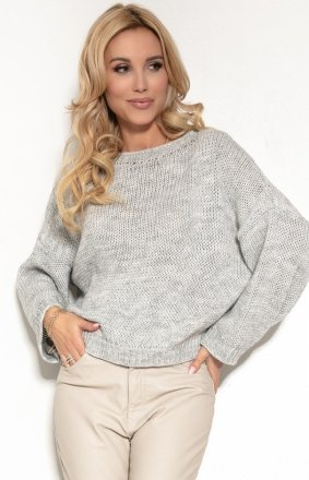Oversizowy sweter szary F1155