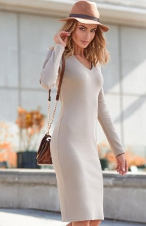 Moe M393 sukienka beżowa