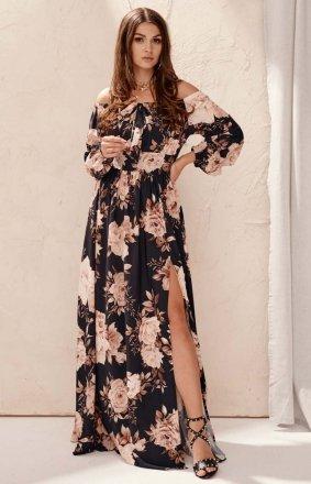 Elegancka długa sukienka w kwiaty 245/L13