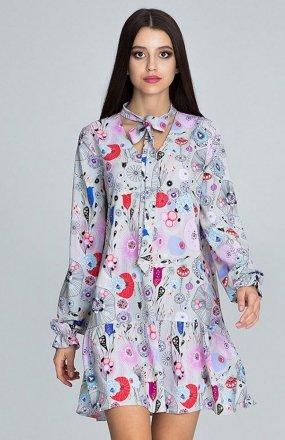 Figl M599 Wzór 73 sukienka w kwiaty