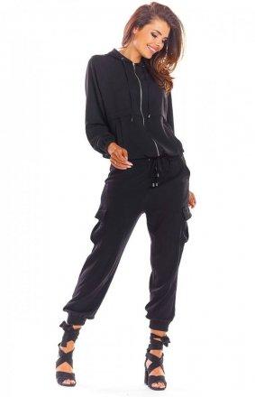 Spodnie joggery cargo czarne A293