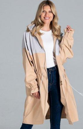 Kolorowy płaszcz damski parka M817 beż-szary