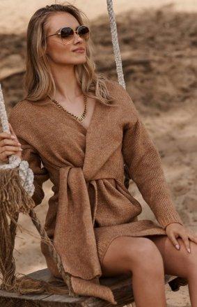 Makadamia moherowy sweter z wiązaniem karmelowy