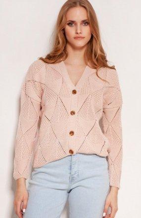Ażurowy sweter na guziki różowy SWE143