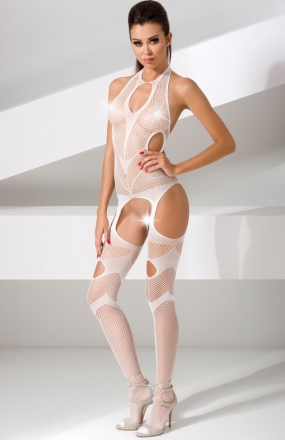 Passion BS053 bodystocking białe