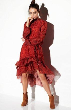 Wzorzysta sukienka z falbaną LG504/1