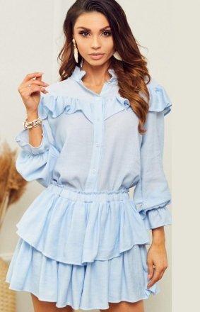 *Błękitny letni komplet damski koszula i spódniczka