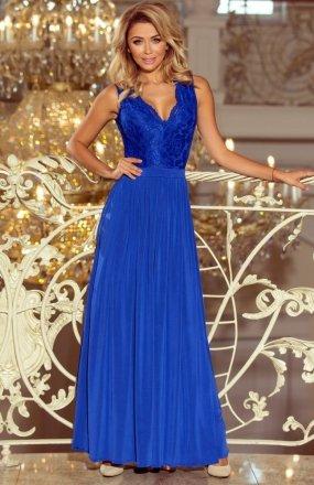 Numoco 211-3 sukienka długa chabrowa