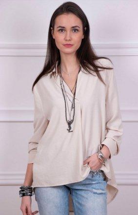 Oversizowa koszula damska jasny beż Roco 0051
