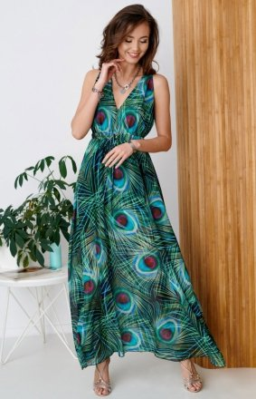 Długa sukienka w kolorowe pawie oko 0287/R45