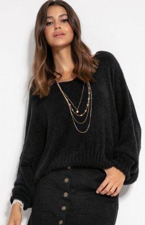 Luźny oversizowy sweter czarny F1066