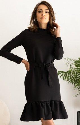 Dzienna sukienka z falbaną czarna Z399