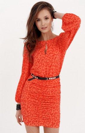 *Ołówkowa sukienka z bufiastymi rękawami orange 0280/S26