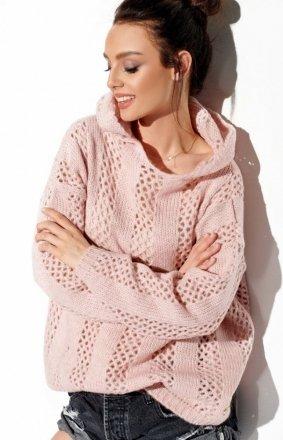 Ażurowy sweterek z kapturem pudrowy LS283