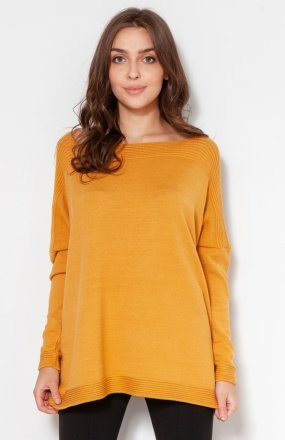 Oversize'owy sweter z wiskozy musztardowy SWE133