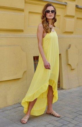 Asymetryczna długa sukienka letnia żółta L8