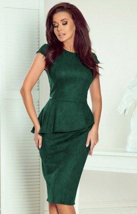 Ołówkowa sukiena z baskinką Numoco 192-10 butelkowa