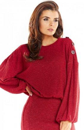 Sweter z kimonowymi rękawami bordowy A318