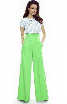 Eleganckie zielone spodnie z szerokimi nogawkami