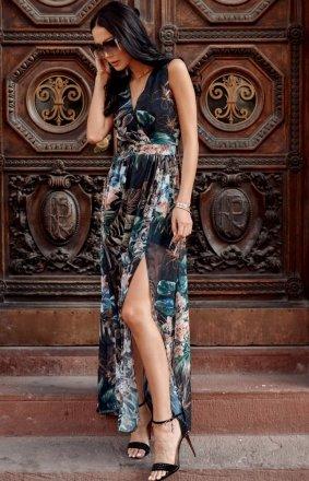 Szyfonowa długa sukienka letnia kolorowa 0209 R70