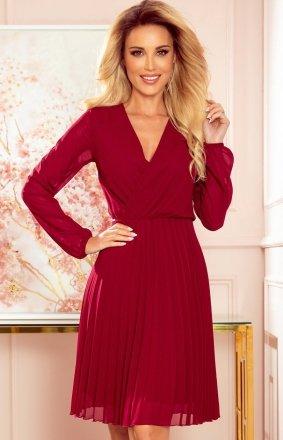 Elegancka bordowa sukienka z plisowaniem Numoco 313-8