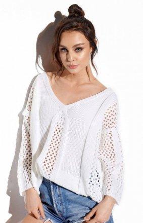 Ażurowy oversizowy sweter biały LS281