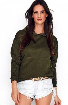 Sportowa bluza z kapturem khaki NU209