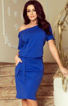 Chabrowa sukienka z wiązaniem Cassie Numoco 249-1