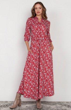 Długa sukienka z rękawem 3/4 i troczkiem czerwona SUK205