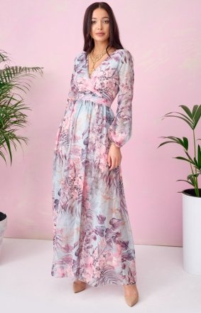 Długa sukienka w kwiaty 0219/U63