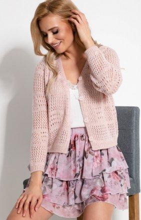 Ażurowy sweterek zapinany na guziczki F907 różowy