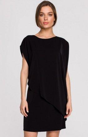 Elegancka sukienka mini warstwowa czarna S262