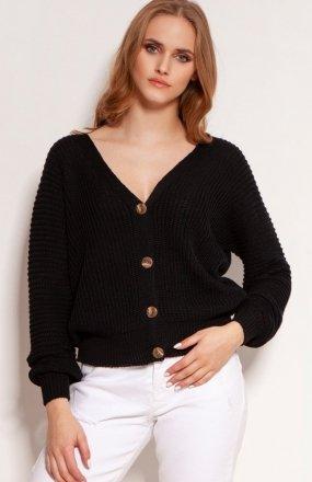 Lekki zapinany sweterek czarny SWE142