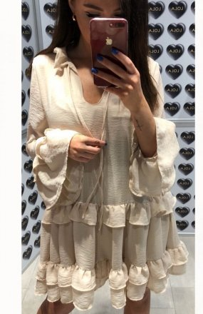 Lola Fashion Spanish sukienka  beżowa