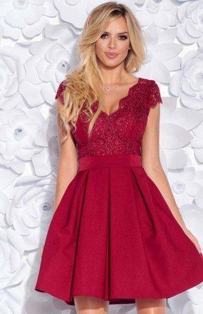 Bicotone 2139-10N sukienka rozkloszowana bordowa