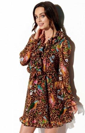 Wzorzysta sukienka z jedwabiem LG518/13
