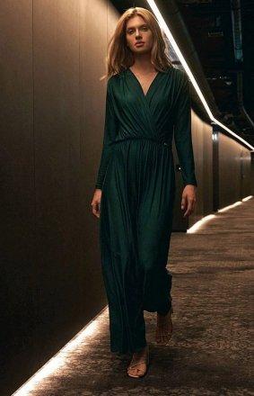 Elegancka sukienka maxi zielona M705