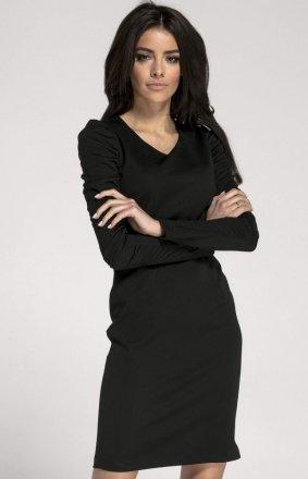 Ołówkowa czarna sukienka wieczorowa NA1006