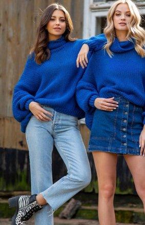 Wełniany sweter oversize niebieski Fobya F1128