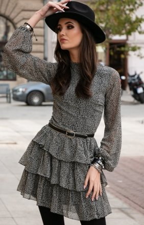 Kobieca sukienka w panterkę 0261/D86