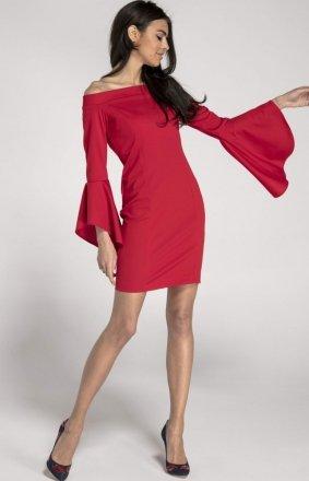 Ołówkowa sukienka czerwona z hiszpańskim rękawem NA1009