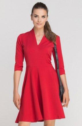 Sukienka rozkloszowana z dekoltem czerwona SUK147