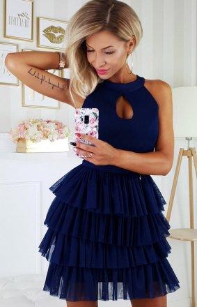 Granatowa wieczorowa sukienka z falbankami 2188-01