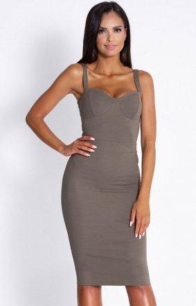 Seksowna dopasowana sukienka Rocco oliwkowa