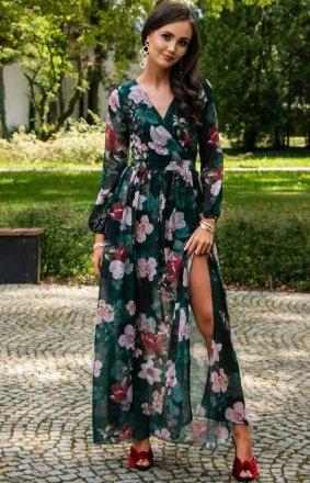 Długa sukienka w kwiaty 0219/D49