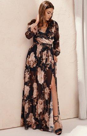 Długa sukienka w kwiaty 0219/U78