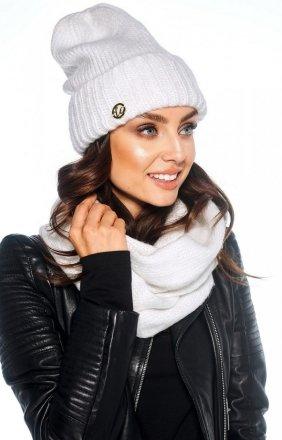 Zimowy komplet czapka i szalik biały LC119