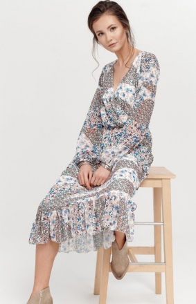 Sukienka midi z falbaną w kolorowe kwiaty 0241/D98